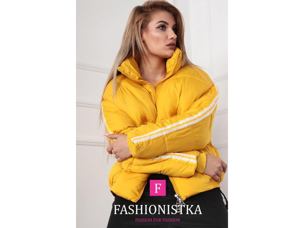 Fashionistka: BUNDA s lampasy krátká zimní žlutá