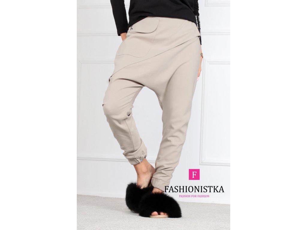 béžové kalhoty ONE
