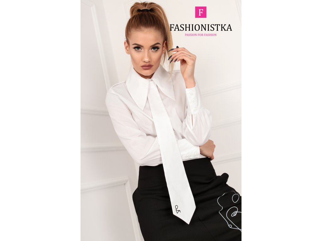 Fashionistka: KOŠILE s kravatou bílá