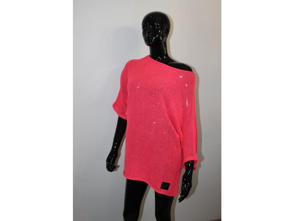 POLA svetr s krátkým rukávem korálový