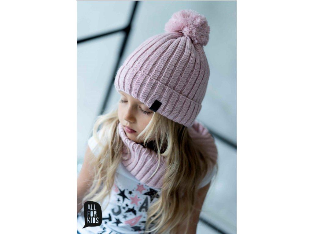SET zimní čepice a nákrčník ALL FOR KIDS růžový