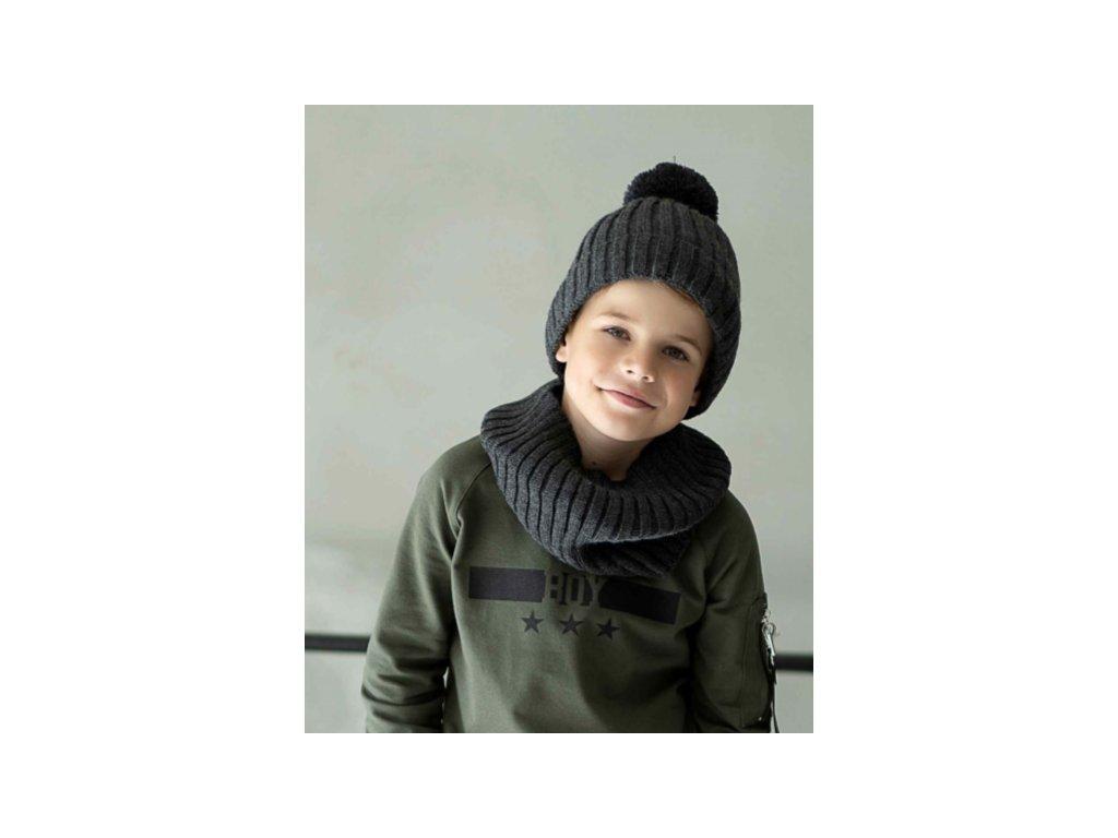 SET zimní čepice a nákrčník ALL FOR KIDS tmavě šedá