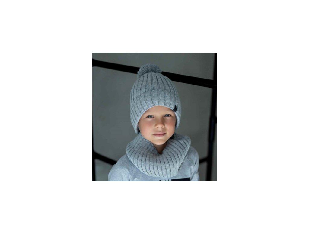 GREY termo zimní čepice + nákrčník