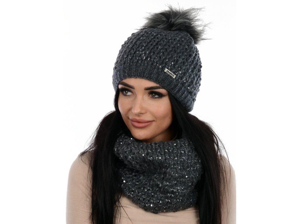 SET zimní PERFECT čepice s nákrčníkem tmavě šedá