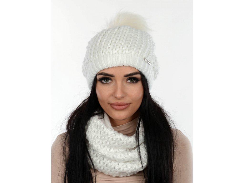 SET zimní PERFECT čepice s nákrčníkem bílá