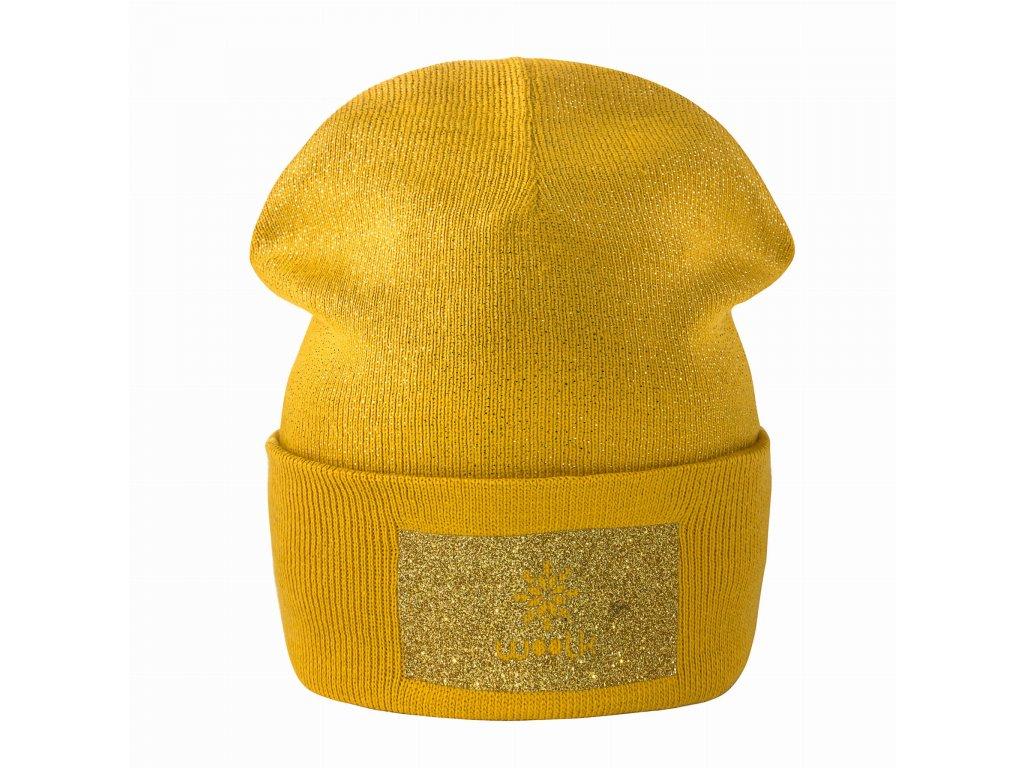 WOOLK čepice /mustard/třpytivý efekt