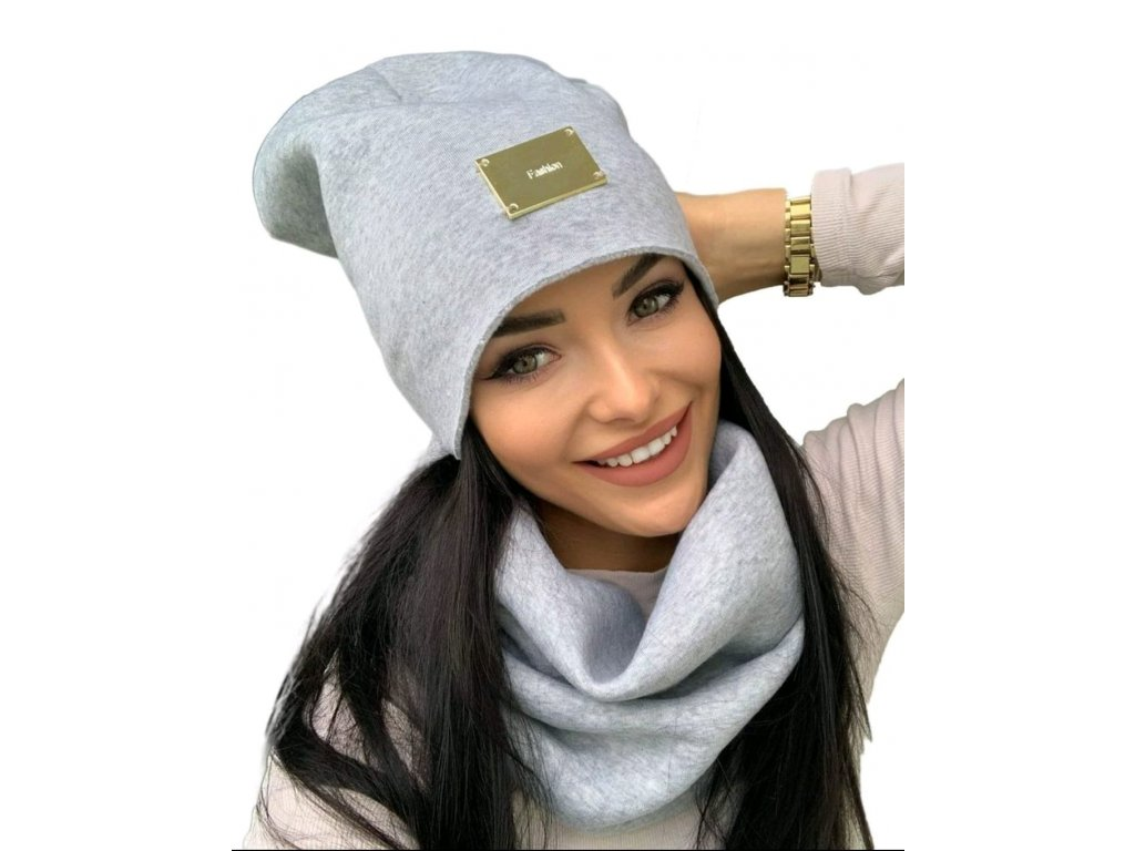 SET tenký PERFECT čepice s nákrčníkem šedý
