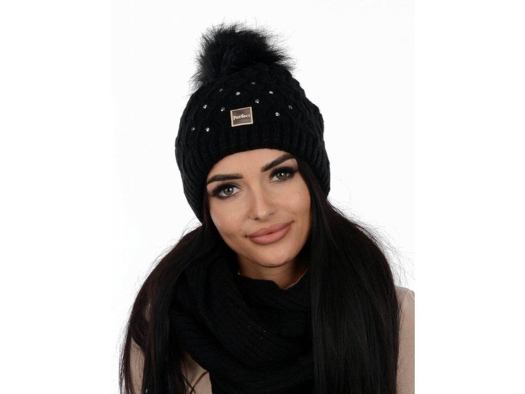 PERFECT čepice se šálou /černá