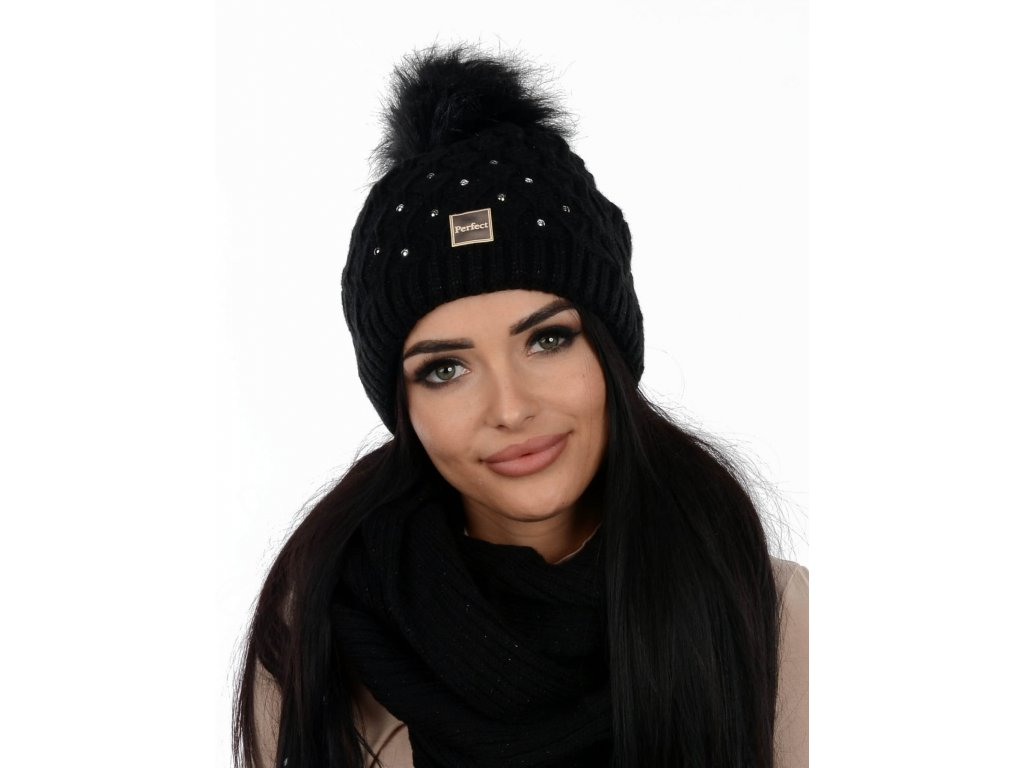 SET zimní PERFECT čepice s nákrčníkem černá