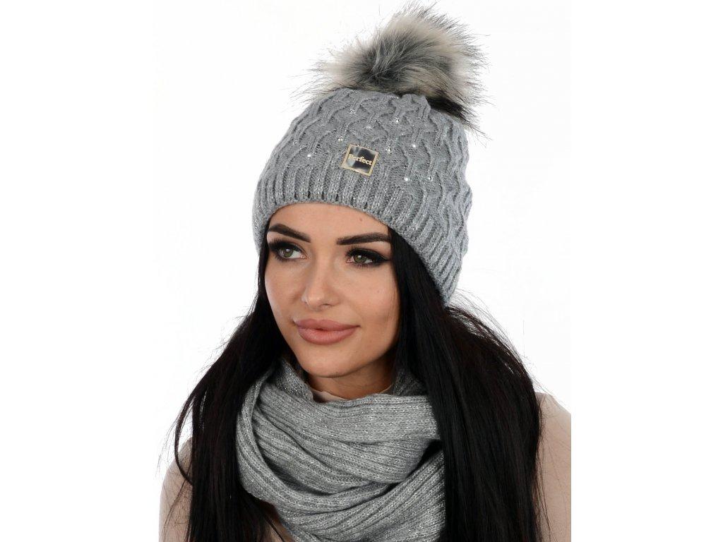 SET zimní PERFECT čepice s nákrčníkem světle šedá