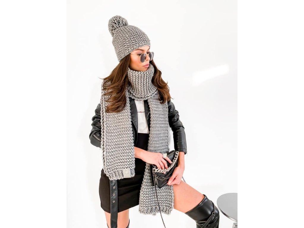 DONNA luxusní set čepice se šálou/šedá