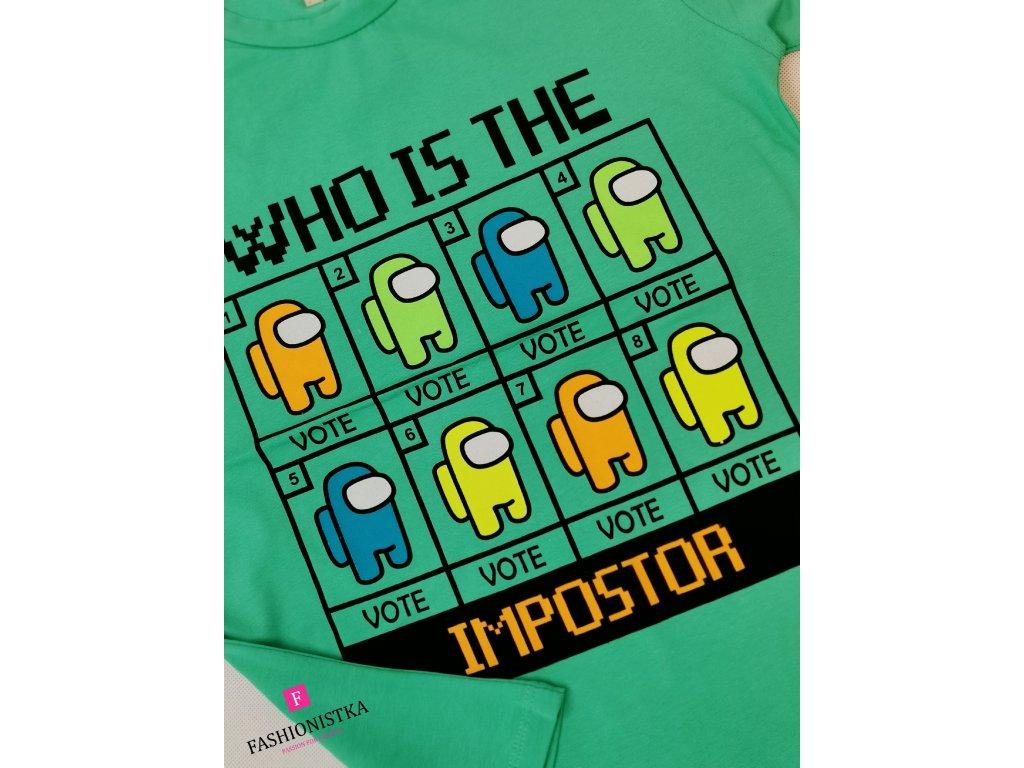 AMONG US impostor tričko /zelené