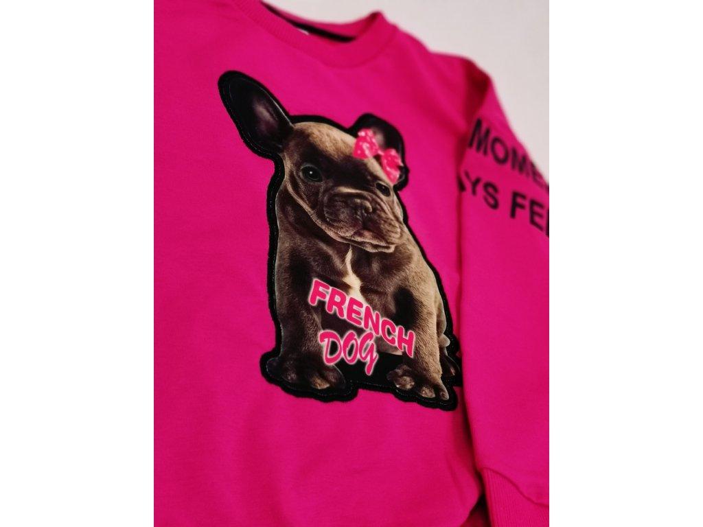 Mikinka FRENCH DOG růžová