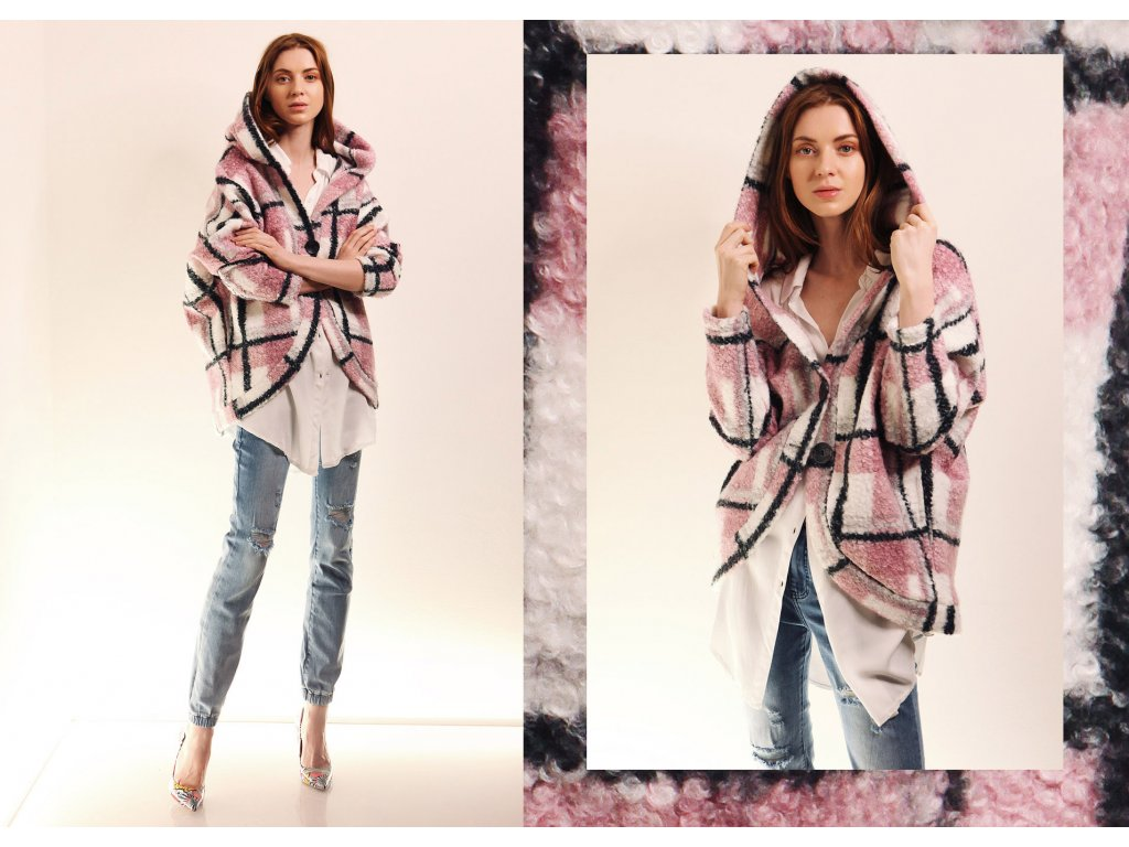 Fashionistka: KABÁT kostkovaný růžový