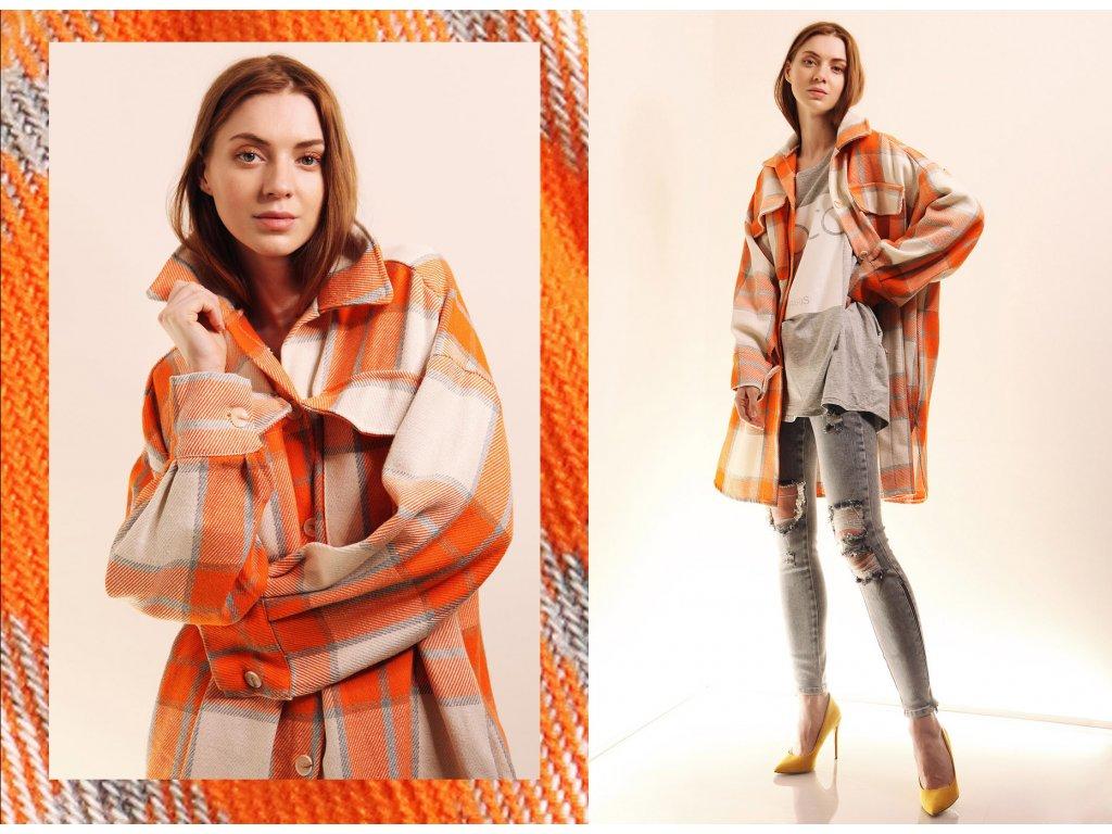 Fashionistka: KABÁT košilový oranžový