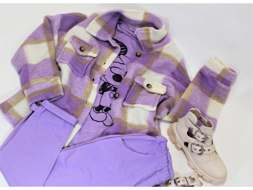 Fashionistka: KABÁT krátký košilový fialový