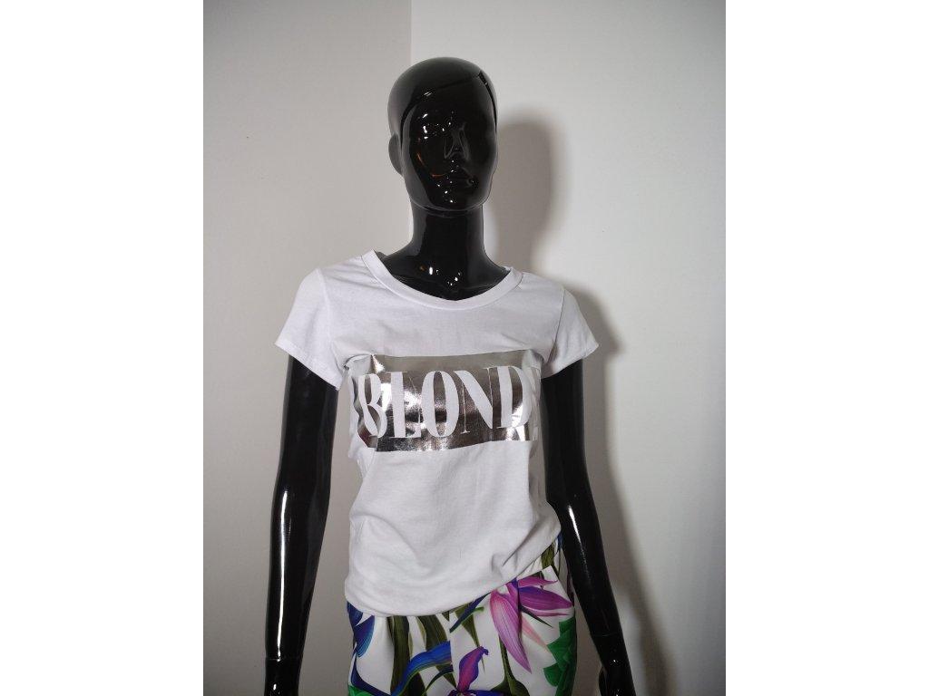 Bavlněné tričko s nápisem BLONDE