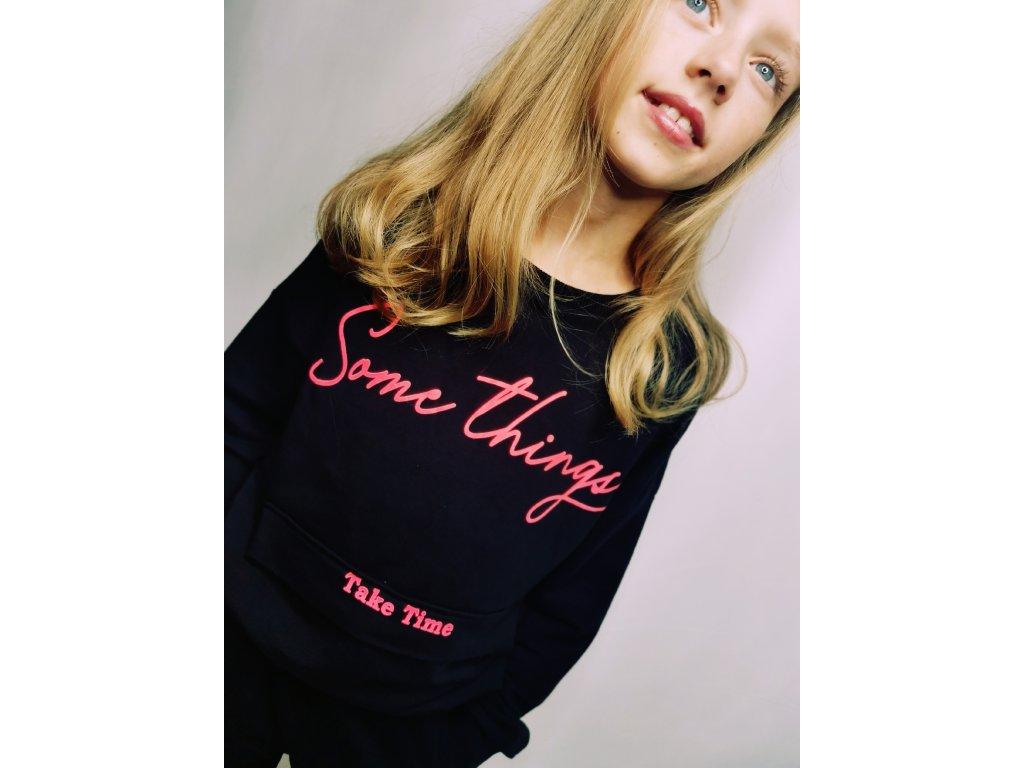 Fashionistka: Mikina dívčí černá SOME THINKS