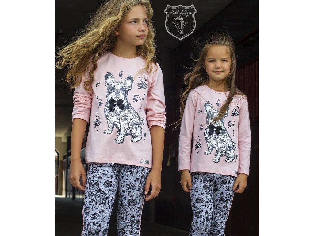 SET tričko + legíny BULDOG růžovošedý