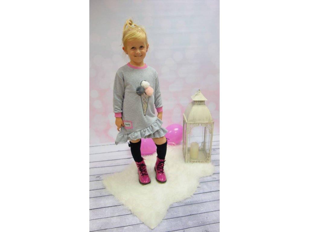 Fashionistka: ŠATY TUNIKOVÉ s aplikací zmrzliny šedé
