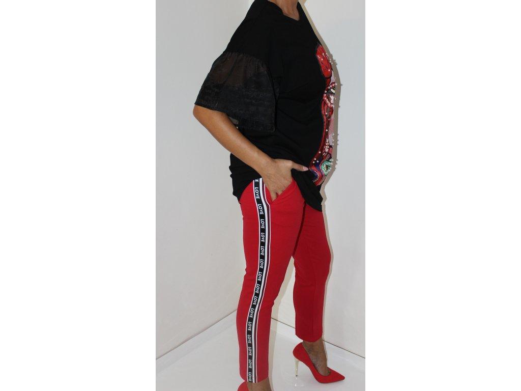 Fashionistka: KALHOTY s pruhem na straně červené