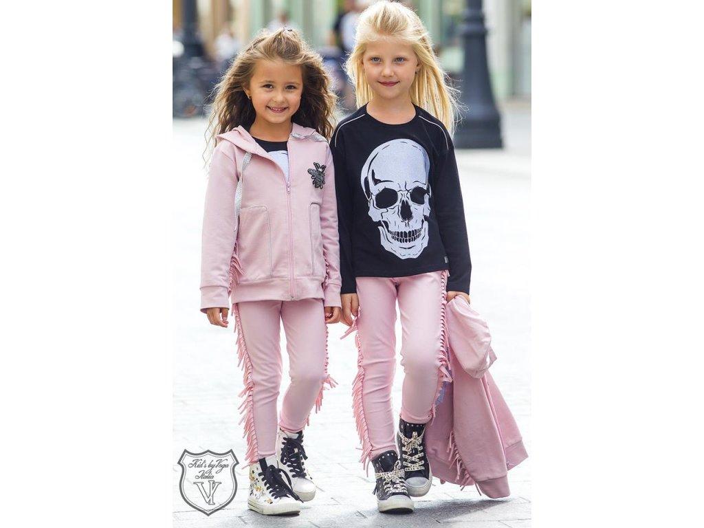 Fashionistka: MIKINA se střapcem a lebkou na zádech růžová