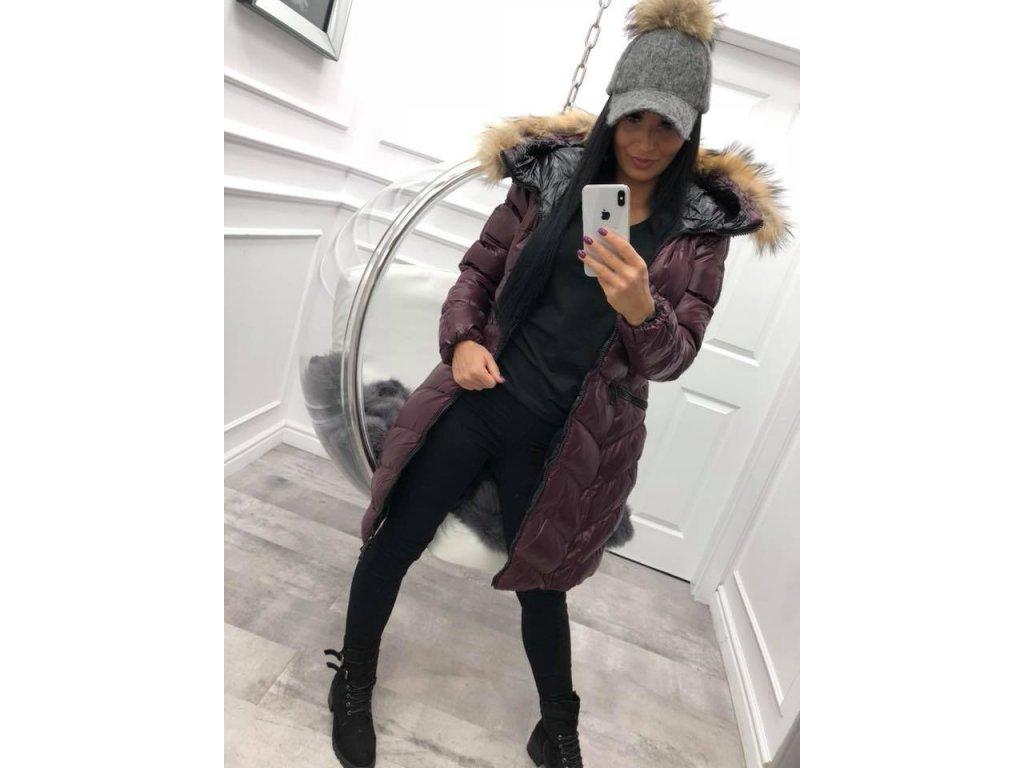 Fashionistka: BUNDA zimní dlouhá s kapucí hnědá