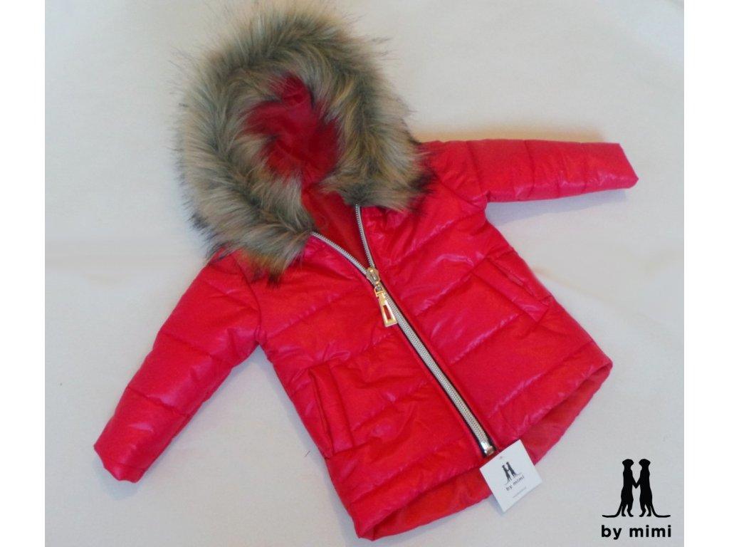 Zimní bunda s kožešinou malinovo/růžová