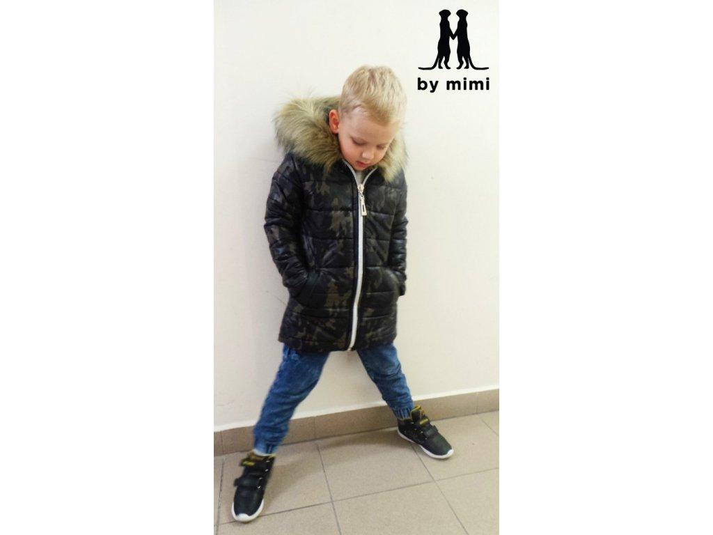 Zimní bunda s kožešinou maskáčová