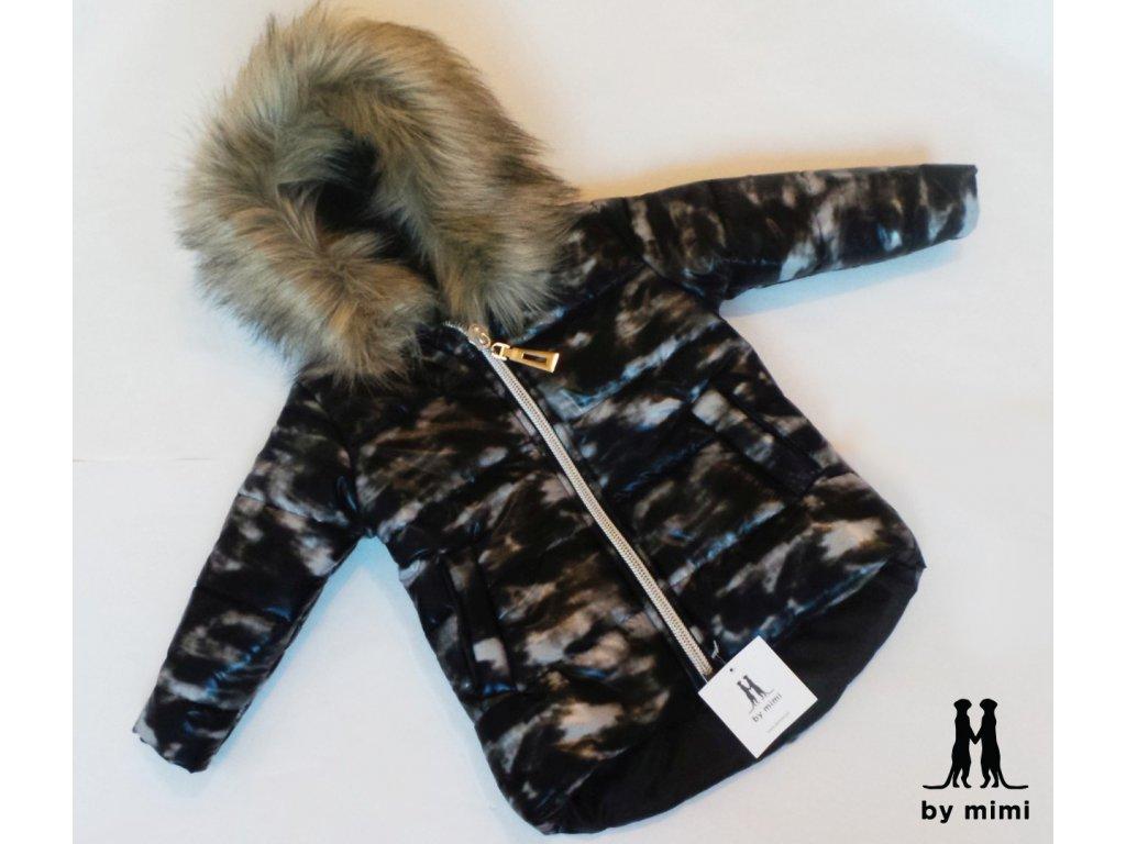 Zimní bunda s kožešinou černo/bílá
