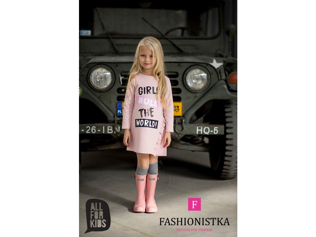 Tunika růžová GIRLS RULE THE WORLD