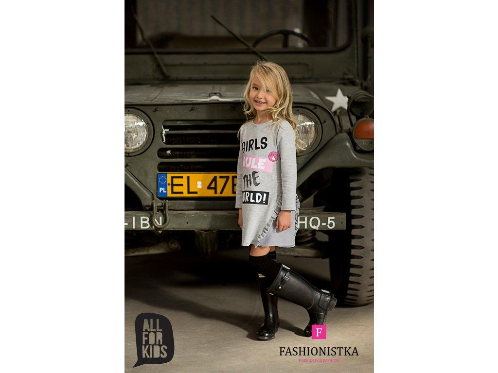 Tunika šedá GIRLS RULE THE WORLD