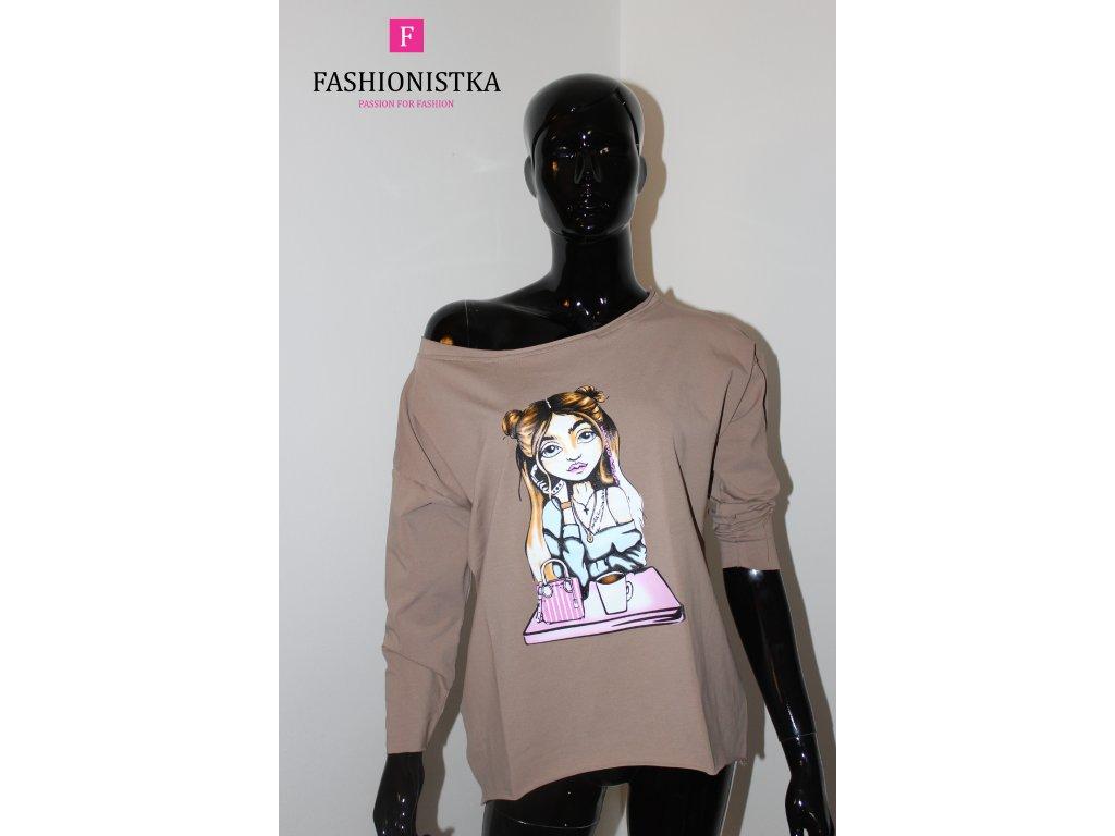 Dámské triko s holkou hnědé