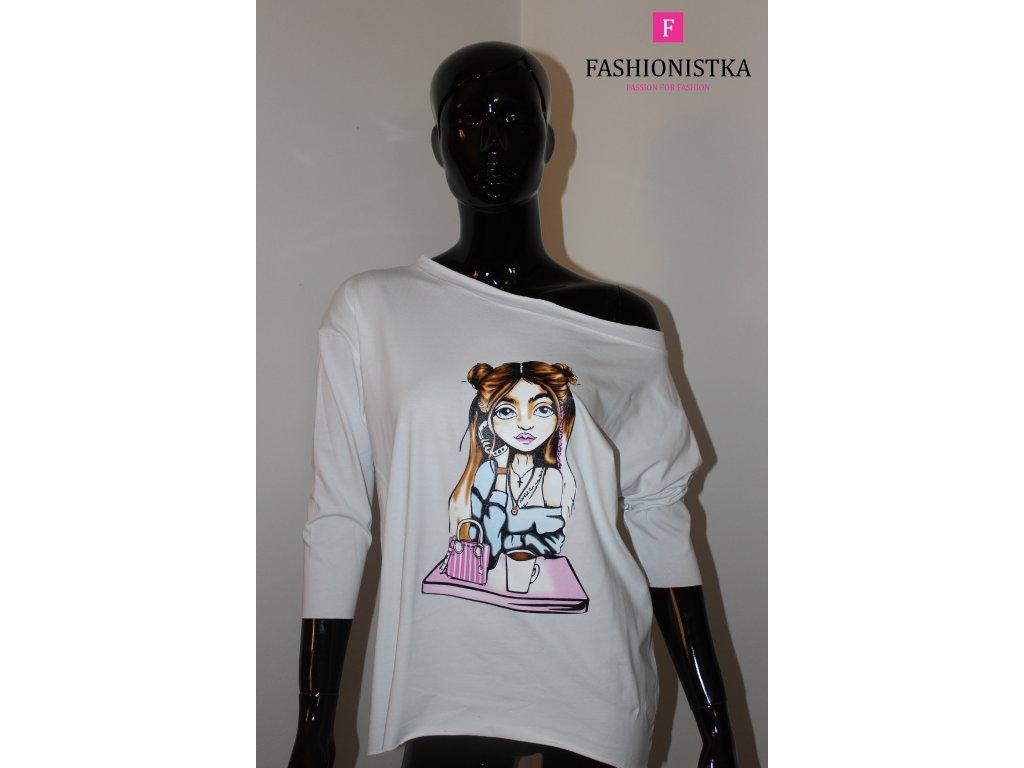 Dámské triko s holkou bílé