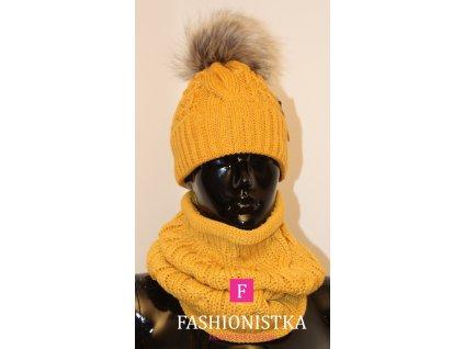SET pletený dámský čepice a nákrčník hořčicová