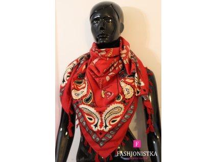 Maxi šátek jaro,podzim/zima červeno černý se  střapcem