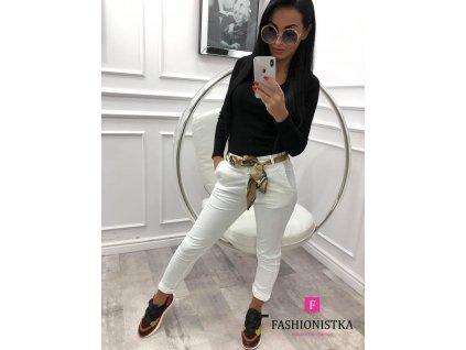 Fashionistka: KALHOTY s barevným páskem bílé