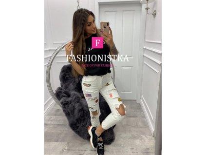 Fashionistka: KALHOTY džínové s aplikacemi bílé