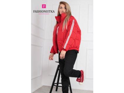 Fashionistka: BUNDA s lampasy krátká zimní červená