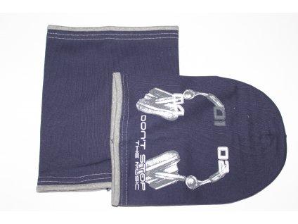 SET čepice s nákrčníkem MUSIC tmavě modrá