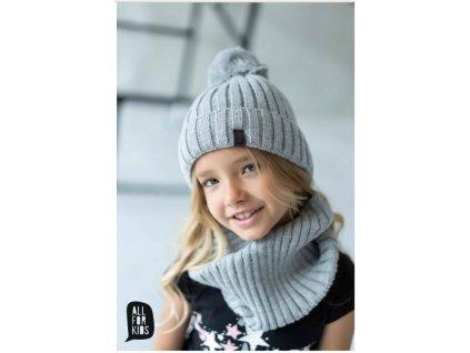 SET zimní čepice a nákrčník ALL FOR KIDS světle šedý