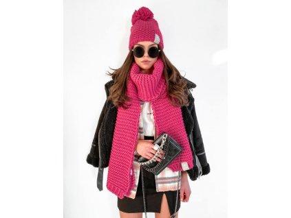 SET luxusní DONNA: čepice se šálou růžová