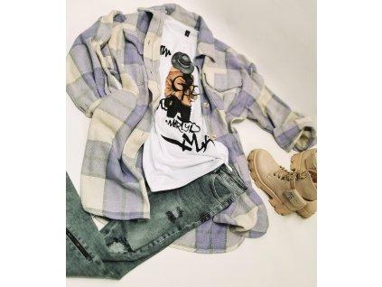 Košilový KABÁT fialový