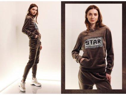 Fashionistka: SOUPRAVA tepláková STAR hnědá