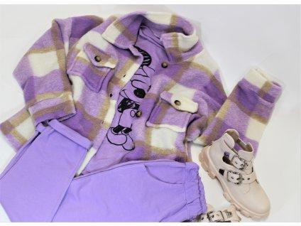Košilový KABÁTEK krátký fialový