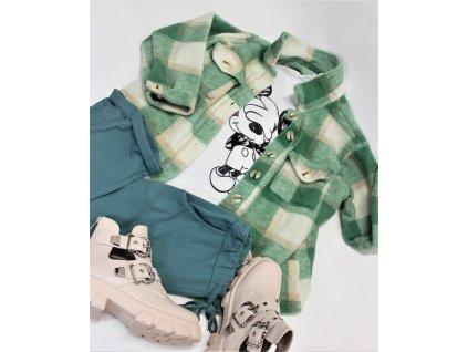 Košilový KABÁTEK krátký zelený