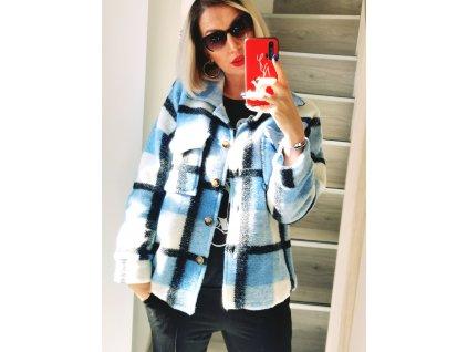Fashionistka: KABÁT krátký košilový modrý