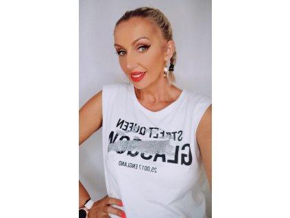 Fashionistka: Dámské tričko bez rukávů delšího střihu a s nápisem na prsou.