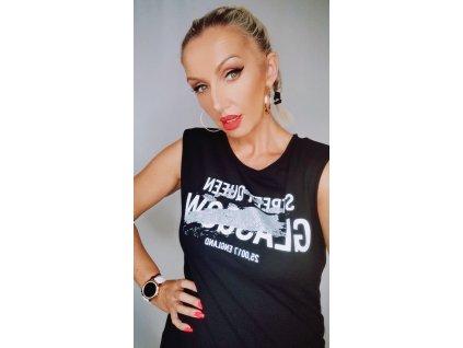 Fashionistka: Tričko dlouhé GLASGOW černé