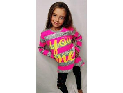 Fashionistka: Dívčí tunika proužkatá s nápisem